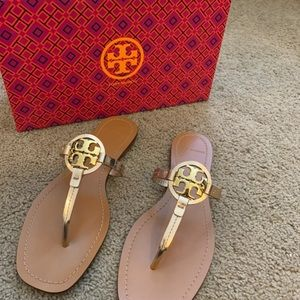NEW 7.5 Tory Burch Rose Gold Mini Miller Sandals